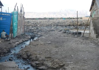 No sewer system only open canals of raw sewage